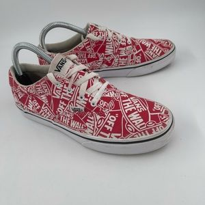 """Vans Kid's """"Off The Wall"""" Red White Logo Sneakers"""